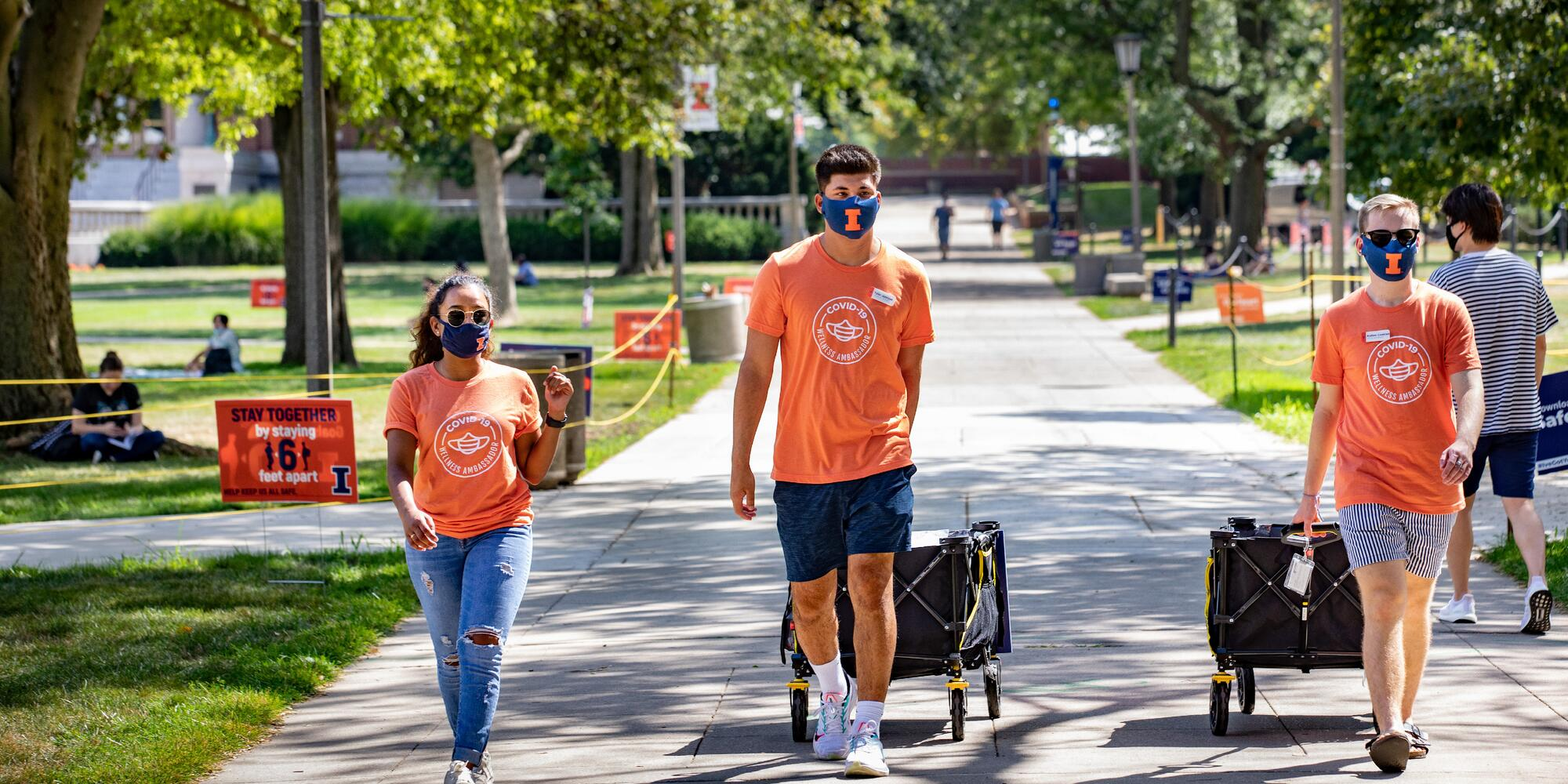 UIUC students walking in quad.